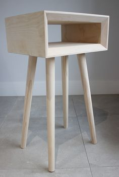 Scandinavian bedside table nightstand with birch plywood and tapered wooden legs Bedside Tables, Nightstand, Baltic Birch Plywood, Scandinavian Style, Storage Spaces, Woodworking, Crisp, Modern, Smooth