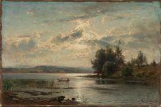 Hjalmar Munsterhjelm, Lake in Tavastland – Nasjonalmuseet – Collection Moonlight Painting, Finland, Sunrise, Sketch Ideas, Fine Art, Landscape, Drawings, Artwork, Artist