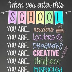 pastel CHALK - Classroom Decor: SMALL BANNER, When You Enter this School Elementary School Office, School Classroom, Classroom Decor, Art School, Elementary Schools, Owl Classroom, Office Bulletin Boards, Back To School Bulletin Boards, School Secretary Office