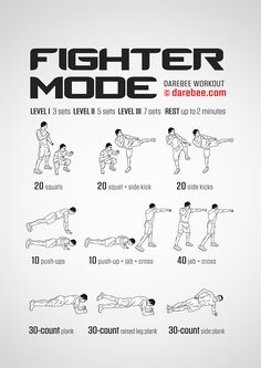 Fighter Mode is a fast-paced workout that takes the body's weight and turns it i. Workout for Beginners Fighter Workout, Mma Workout, Aerobics Workout, Boxing Workout, Workout Bodyweight, Workout Plans, Hero Workouts, Gym Workouts, At Home Workouts