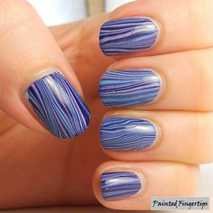 Water Marble - Vertical Stripes by @PaintedFingers via @nailartgallery #nailartgallery #nailart #nails #polish #stripes #watermarble #chinaglazetartyforthepa #essieinthecabana #tiptopinthenavy