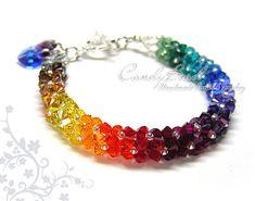 Swarovski bracelet Luxurious Dark Rainbow Swarovski by candybead, $20.00