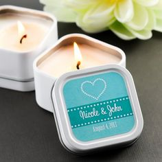 Custom printed wedding favor tins, fill with candles or edible goodies! Personalize tins using your LogoJET printer.