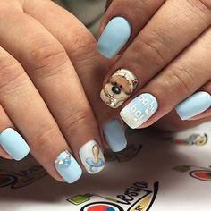 Дизайн ногтей тут! ♥Фото ♥Видео ♥Уроки маникюра Baby Shower Nails Boy, Baby Boy Nails, Baby Shower Fun, Cute Nail Art, Cute Nails, Pretty Nails, Fancy Schmancy, Creative Nails, Nails Inspiration