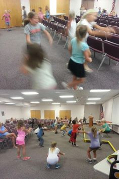 Patti sets the kids in motion at today's Youth Fitness program!