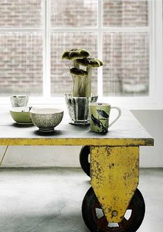 Train Table, a yellow metal cart coffee table by Scandinavian interior company 'Nordal.' via Space for Inspiration