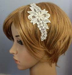 Swarovski Crystal Rhinestone Pearl Lace Headband by WearableArtz, $39.00