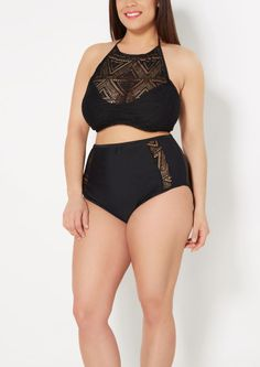 image of Plus Black Crochet High Neck Bikini Top