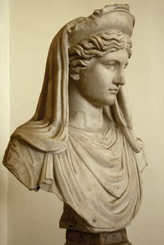 "Ceres (Demeter) (""Ludovisi"") or member of the imperial family represented as ~, Roman bust (marble), copy after Greek original, 2nd century AD (original 5th-4th c. BC), (Palazzo Altemps, Rome)."
