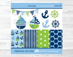 Nautical Sailboat Clipart / Digital Paper by LittlePrintsParties