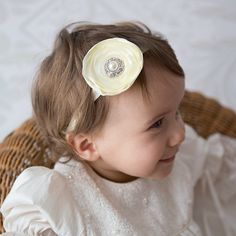 champagne satin flower girl head band christening by CheekyMooseCo, $15.00