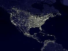 The lights of U.S. and Mexico from up there.