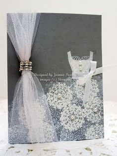 Stampin' Up supplies: Going Gray cardstock, stamp sets used were All Dressed Up for top, Delicate Doily, Artistic Etchings, and Mixed Medle. Wedding Scrapbook, Scrapbook Cards, Scrapbooking, Engagement Cards, Wedding Engagement, Wedding Anniversary Cards, Wedding Cards, Dress Up Storage, Dress Card