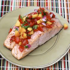Grilled Salmon with Tomato-Peach Salsa (from @Natalie McLaury)