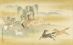 Six Horses in a Field with Peach and Willow Trees by 狩野安信(Kano Yasunobu) (circa 1681) Harvard Art Museums, Cambridge, Massachusetts.