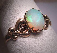 Antique Australian Opal Engagement Ring ETSY $695 :: boho wedding