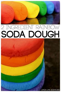 A great recipe for 2 Ingredient Rainbow Soda Dough - fun crafts (or even gifts!) for kids!