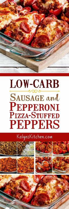 Low-Carb Sausage and Pepperoni Pizza-Stuffed Peppers are a great low-carb dinner idea with pizza flavors. This recipe is also Keto, low-glycemic, gluten-free, and can be South Beach Diet friendly. [found on KalynsKitchen.com] #StuffedPeppers #PizzaStuffedPeppers #LowCarb #Keto #LowGlycemic #GlutenFree #SouthBeachDiet
