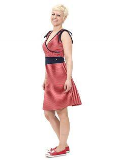 Grapefruit Dress, red striped