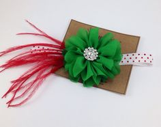 Christmas Headband Red & Green Headband Feathers and Ballerina Flower Metalic Polka Dots Couture Headband Photo Prop Flower Rhinesone