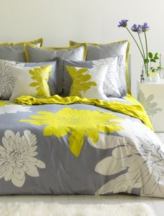Love this grey and yellow bedding