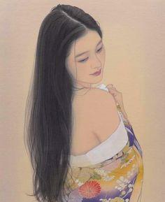 Body Drawing, Cool Art Drawings, Watercolor Portraits, Japanese Art, Art Girl, Long Hair Styles, Creative, Painting, Inspiration
