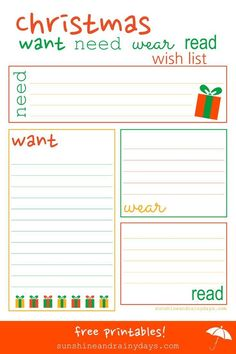 Christmas Wish List Santa Letters and Gift Tags