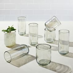 Crafted in Mexico from beautiful recycled glass and featuring a classy curved brim, with this Luster Glassware you can serve your guests in style or simply relax by yourself with your favorite drink in hand. Recycled Glass, West Elm, Store Design, Furniture Decor, Modern Furniture, Luster, Recycling, Glasses, Mexican