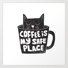Coffee is my safe Place by Matthew Taylor Wilson / Funny and cool flat illustrat. - Coffee is my safe Place by Matthew Taylor Wilson / Funny and cool flat illustration with typography - Coffee Talk, Coffee Is Life, I Love Coffee, My Coffee, Coffee Shop, Black Coffee, Coffee Mugs, Coffee Humor, Coffee Quotes