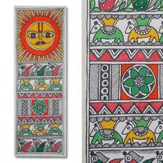 Madhubani painting featuring the sun lord and peacocks-Home Decor-Kalakruti Small Canvas Paintings, Indian Art Paintings, Colorful Paintings, Madhubani Painting, Madhubani Art, Painting Lessons, Art Lessons, Saree Painting Designs, Indian Folk Art