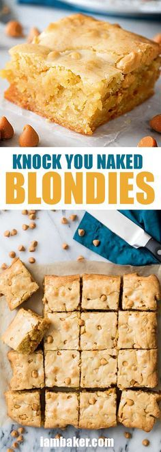Knock You Naked Blondies ~ Once you see the secret ingredient you will know why these are the BEST blondie! Dessert Simple, Easy Desserts, Dessert Recipes, Bar Recipes, Bar Cookie Recipes, Butterscotch Blondies, I Am Baker, Blondie Brownies, Crack Crackers