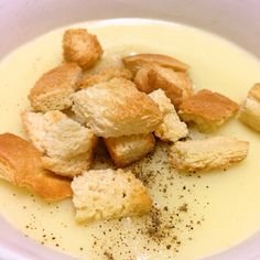 creamy soup and crouton. made by my sister. so yummy!