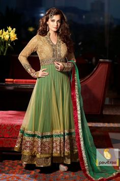 Online shopping store offer green and golden party wear salwar suit, created from embroidery and patch work Resham, with gracefully contemporary style.