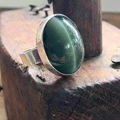 Vintage Cats Eye Ring Green Cats Eye Chunky Boho Ring