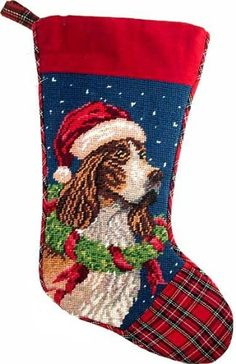 English Springer Spaniel Dog Needlepoint Christmas Stocking