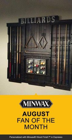 Dominic D'Ambrosio built this pool rack and stained it with Minwax® Wood Fini. - Dominic D'Ambrosio built this pool rack and stained it with Minwax® Wood Finish™ in Espresso to turn his game room into a pool hall. Billard Bar, Billard Design, Garage Game Rooms, Game Room Basement, Basement Ideas, Man Cave Basement, Basement Ceilings, Basement Bars, Game Room Decor
