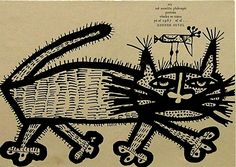 """Kočka s ptákem na hlavě - Cat with a bird on his head: """"Nothing can surprise me, because everything happens.""""   woodcut, 1967   Zdenek Seydl"""
