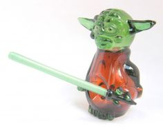 Exquisite Yoda Pipe with Lightsaber Dabber - Handblown Glass Pipe - Made to Order on Etsy, $160.00 SemillasdeMarihuana.com