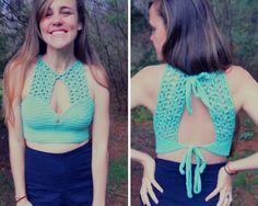 Crochet Keyhole crop top halter pattern by MermaidcatDesigns