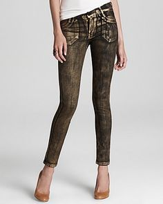 James Jeans Skinny Jeans - Twiggy Legging in Gold Flake - Denim - Apparel - Contemporary - Bloomingdale's