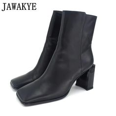 325db16e918 JAWAKYE Newest genuine leather Short Boots high heels high quality square  toe Wrinkled runway style Ankle