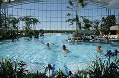 Therme Erding is the largest thermal bath complex in Europe at 145,000 square metres. It is 30 minutes northeast of Munich by car and is visited by around 4000 people every day.