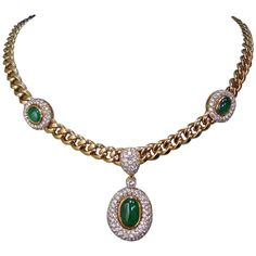 Emerald, Diamond & Gold Necklace, Late 20th Century