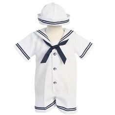 Lito Baby Boys White Navy Sailor Romper Hat Set 6-12m