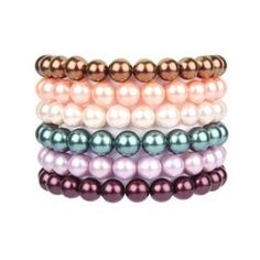 """Simple Shell Pearl Bracelets.These gorgeous bracelets take seconds to make and look gorgeous when worn alone or stacked high. Simply choose your shell pearls colours (we've included the one's seen here in the """"Materials"""" section). <3"""