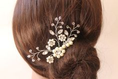 Bridal Rhinestone Crystals Pearls Hair Comb, Flowers  Wedding Clip, Fascinator, Wedding Accessories