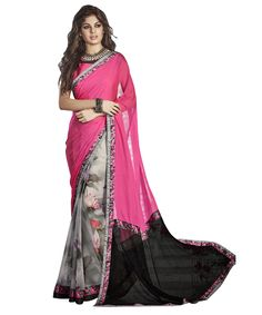 Buy Now Pink-Grey Georgette Festival Wear Printed saree with Raw Silk Blouse only at Lalgulal. Price :- 1,912/- inr. To Order :- http://goo.gl/dJkbsY . COD & Free Shipping Available only in India.