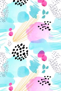 Abstract Watercolor by minikuosi -  Abstract painted watercolor with dots and lines. Top 10 design in the Abstract Skillshare Design Whimsical Watercolor Challenge. - Black dots with sea blue and pink watercolor spots on fabric, wallpaper, and gift wrap.