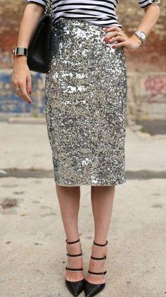 Silver Plain Sequin High Waisted Slim Fashion Midi Skirt