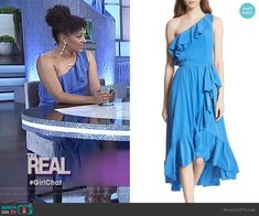 4dda6a1abf8 Damica Ruffle One-Shoulder Silk Dress by Joie worn by Tamera Mowry on The  Real